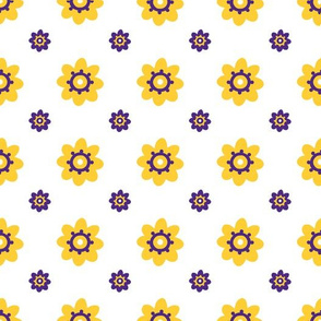 LSU white with yellow flowers purple detail