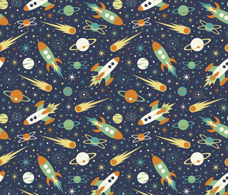 Space Race - Retro fabric by diseminger on Spoonflower - custom fabric