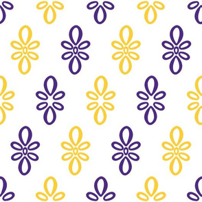 LSU white with purple and yellow diagonal oval motifs