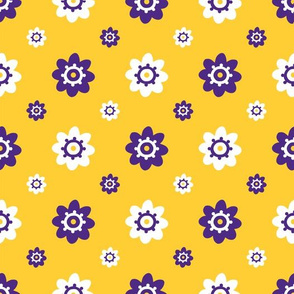 LSU yellow with purple and white flowers