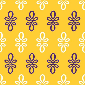 LSU yellow with purple and white oval motif