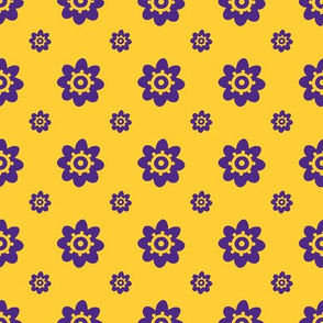 LSU yellow with purple flowers
