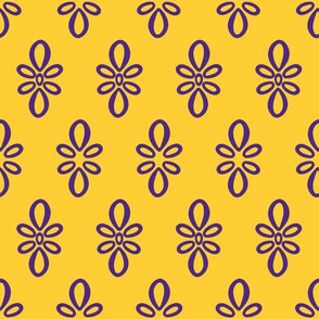 LSU yellow with purple oval motif