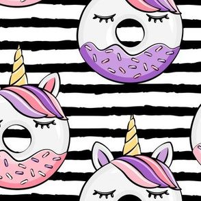 (jumbo scale) unicorn donuts (pink and purple) black stripes