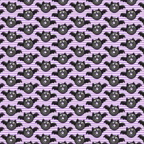 (micro scale) bat - vampire - halloween donuts on purple stripes C18BS