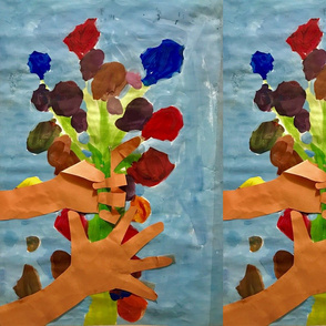 kids hands and flowers