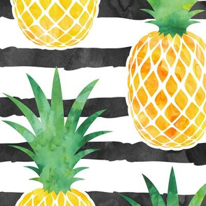 (jumbo scale) pineapples - watercolor on black stripes C18BS
