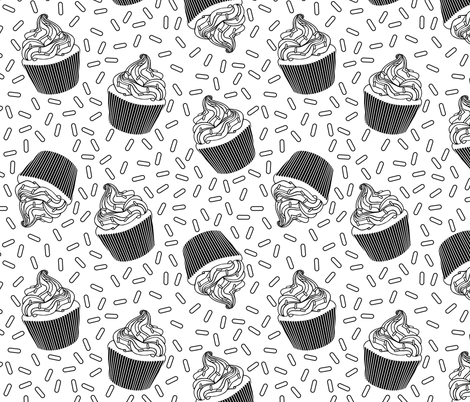 Coloring Book Cupcakes and Sprinkles fabric by latheandquill on Spoonflower - custom fabric