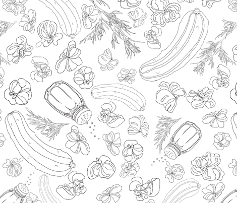 Pickles and popcorn black and white fabric by overthemoondesigns on Spoonflower - custom fabric