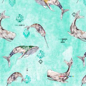 Whale Tribe (aqua) LRG