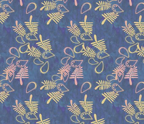Paisley batik navy fabric by bloomingwyldeiris on Spoonflower - custom fabric