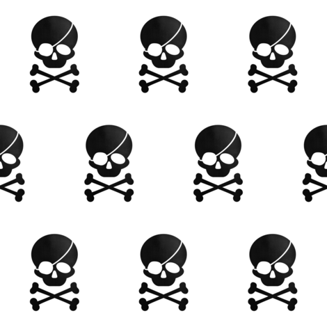 Pirate skull Inverse black on white fabric by lub_by_lamb on Spoonflower - custom fabric