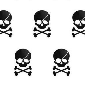Pirate skull Inverse black on white