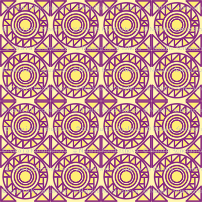 Triangles in circles yellow and violet