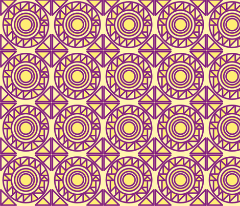 Triangles in circles yellow and violet fabric by tashakon on Spoonflower - custom fabric