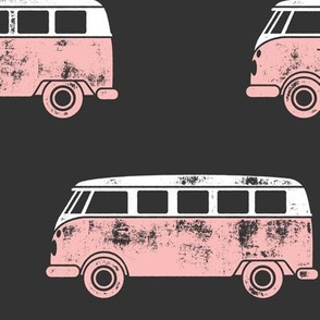 (jumbo scale) retro van - camping - surfing - pink on grey