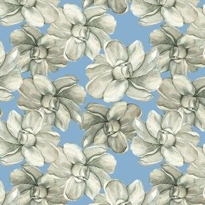 White Flowers on Blue - Smaller Scale