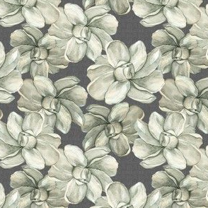 White Flowers on Dark Linen - Smaller Scale