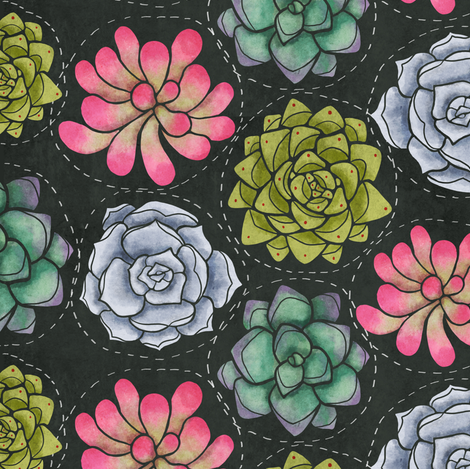 Succulent Circles fabric by littleknids on Spoonflower - custom fabric