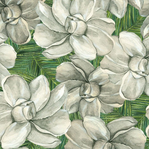 White Flowers on Green Leaves - Larger Scale