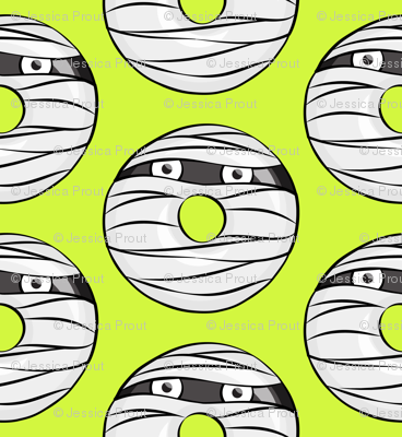 mummy donuts - lime - halloween fabric
