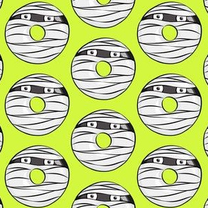 mummy donuts - lime - halloween fabric