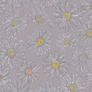 Daisy Line Art Pattern on LILAC Background
