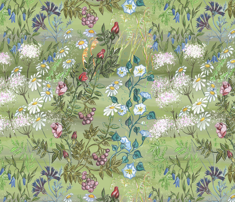 Hand-drawn Wild Flowers on Meadow fabric by palusalu on Spoonflower - custom fabric