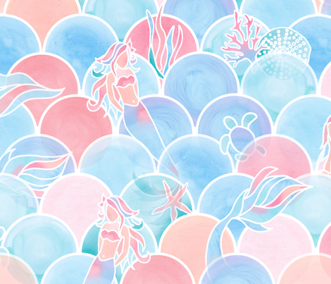 Bubbly Sunset Ocean fabric by gingerlique on Spoonflower - custom fabric