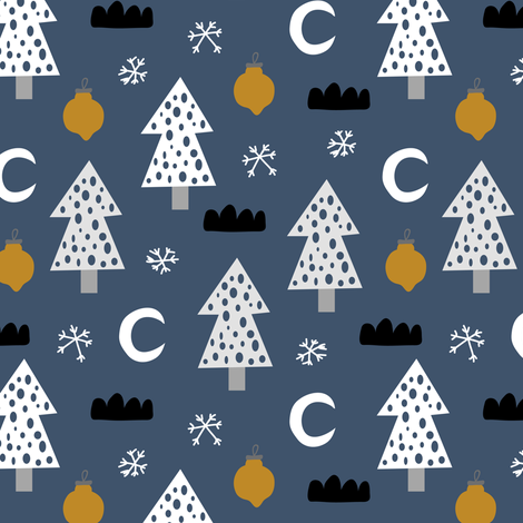 let it snow fabric by yuliia_studzinska on Spoonflower - custom fabric
