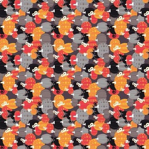 Find the Halloween Black Cat // tiny scalle rotated // brown grey background black kitties orange red yellow black & white cute pumpkins