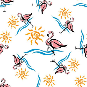 Flamingo. Sea and sun. Tropical