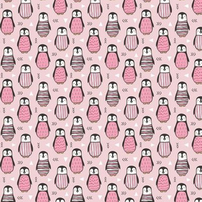 Penguins with Geometric and Triangles Pink Tiny Small 1 inch