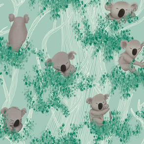 Big Sleeping Koalas on a Mint Background