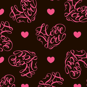 Pink hearts on black background. Stylish lettering