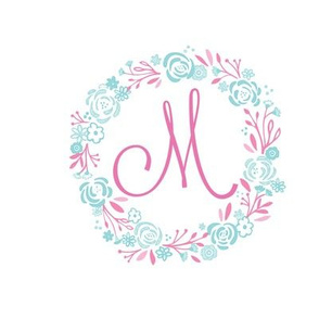 pink  8x8 initial M-  shabby chic rose wreath-pink mint
