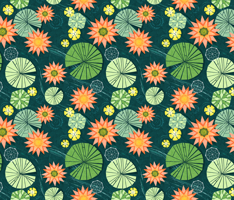 Lily Pad Pond fabric by avisnana on Spoonflower - custom fabric