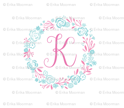 pink  8x8 initial K - shabby chic rose wreath-pink mint