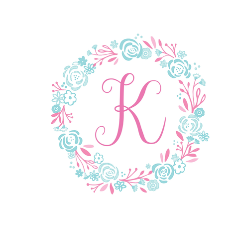 pink  8x8 initial K - shabby chic rose wreath-pink mint fabric by drapestudio on Spoonflower - custom fabric