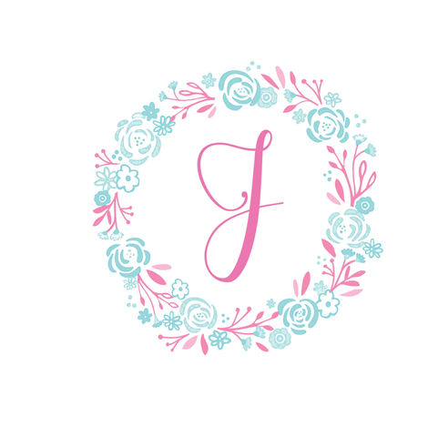 pink  8x8 initial J -  shabby chic rose wreath-pink mint fabric by drapestudio on Spoonflower - custom fabric