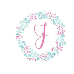 pink  8x8 initial J -  shabby chic rose wreath-pink mint