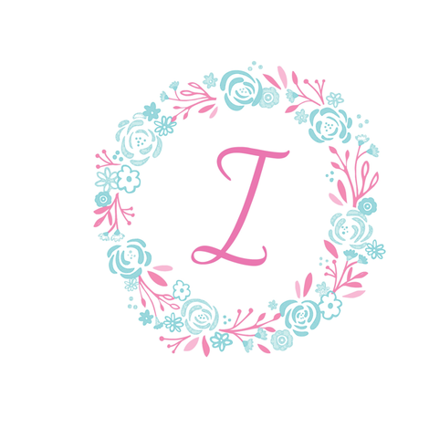pink 8x8 initial  I - shabby chic rose wreath-pink mint fabric by drapestudio on Spoonflower - custom fabric