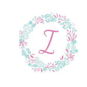 pink 8x8 initial  I - shabby chic rose wreath-pink mint