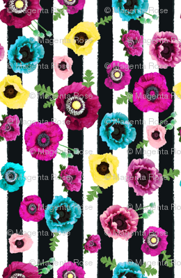 Watercolor floral stripe // vertical  stripe //  pink, teal and yellow