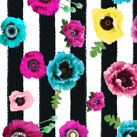 Watercolor floral stripe // vertical  stripe //  pink, teal and yellow fabric by magentarosedesigns on Spoonflower - custom fabric