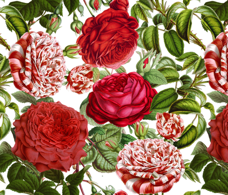 "18""  Red and White Vintage Roses fabric by utart on Spoonflower - custom fabric"