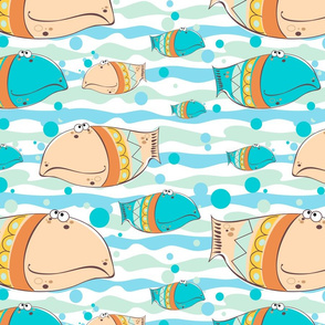 Fish in the sea. Decorative fish background. Colorful bright cheerful fish.