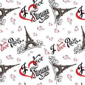 I love Paris. I love France. Stylish lettering. Hearts. Eiffel tower. Sketch.