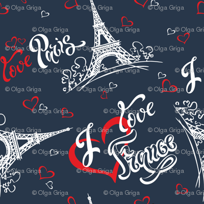 I love Paris. I love France. Stylish lettering. Hearts. Eiffel tower. Sketch.