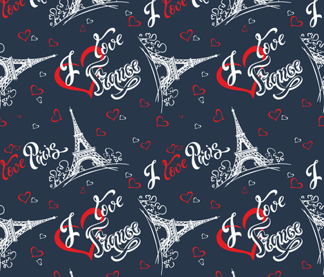 I love Paris. I love France. Stylish lettering. Hearts. Eiffel tower. Sketch. fabric by olga_griga on Spoonflower - custom fabric